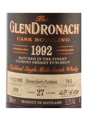 Glendronach 27 Year Old 1992 Cask 7411 53.2%-L-900x1250-Malt Whisky Agency